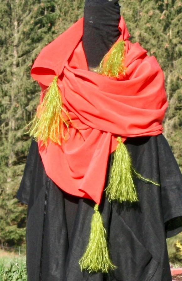 Ecvharpe soie rouge Après la mousson